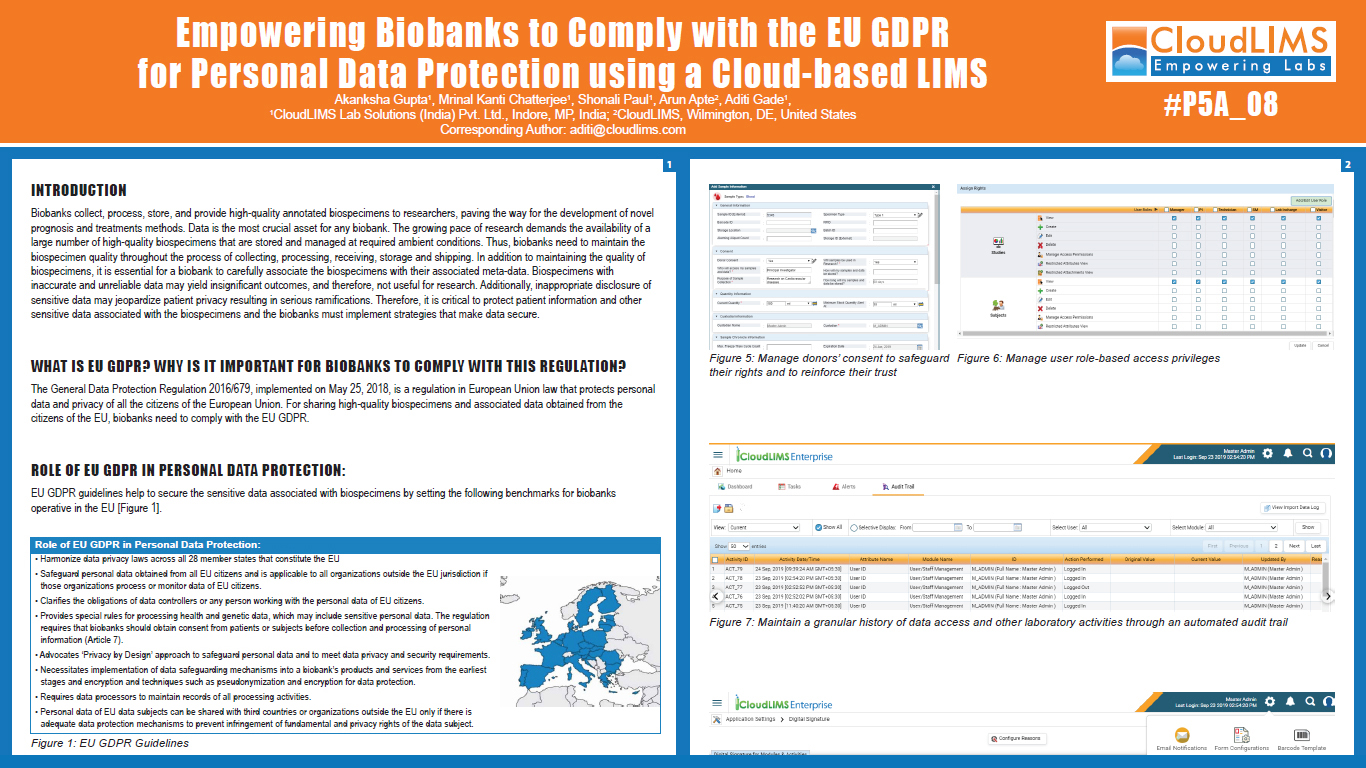 Europe Biobank Week 2019 Poster - Empowering Biobanks to Comply with the EU GDPR for Personal Data Protection using a Cloud-based LIMS