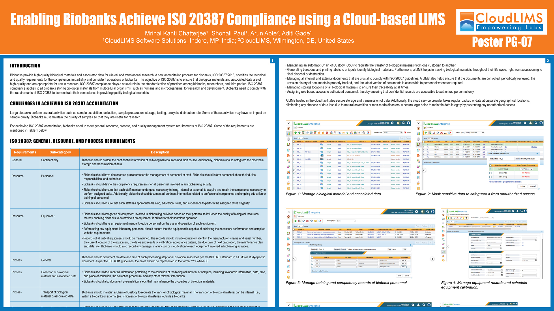 ISBER 2019 Regional Meeting & Exhibits Poster - Enabling Biobanks Achieve ISO 20387 Compliance using a Cloud-based LIMS